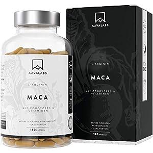 Maca L – Arginin [ 5600 mg ] + Cordyceps, Acerola Extrakt mit Vitamin B6, B12 und Zink pro Tagesdosis – Nordische Reinheit: 100% Vegan – Laborgeprüft – Hergestellt in der EU – 180 Kapseln
