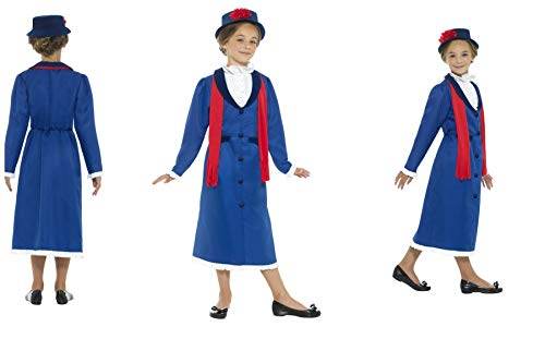 Fancy Dress World – Smiffys – Kinder Mädchen Magisches Posh viktorianisches Nanny Kostüm blau mit Kleid Hut & Schal – Ideal für TV World Book Day School Events Kinderfilm Kostüm ()