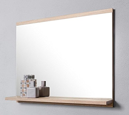 DOMTECH Badspiegel mit Ablage, Eiche Sonoma, Badezimmer Spiegel, Wandspiegel, Badezimmerspiegel -
