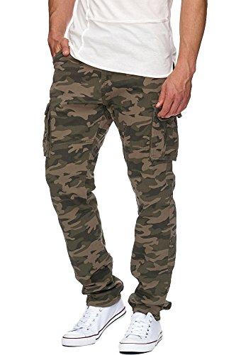Indicode Herren William Cargo Hose Freizeithose Militär Army Chino Feldhose Outdoorhose Rangerhose Stoffhose Leinenhose Dired Camouflage L