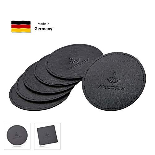 Leder Untersetzer (ANCORIX Glasuntersetzer 6er-Set (rund, 9,5 cm) | recyceltes Leder, Made in Germany | Untersetzer für Gläser auf Tisch und Bar | Premium Tischuntersetzer, Getränkeuntersetzer mit Anker)