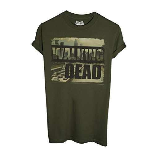 T-Shirt THE WALKING DEAD CITY SKYLINE - FILM by Mush Dress Your Style - Uomo-XXL-Verde Militare
