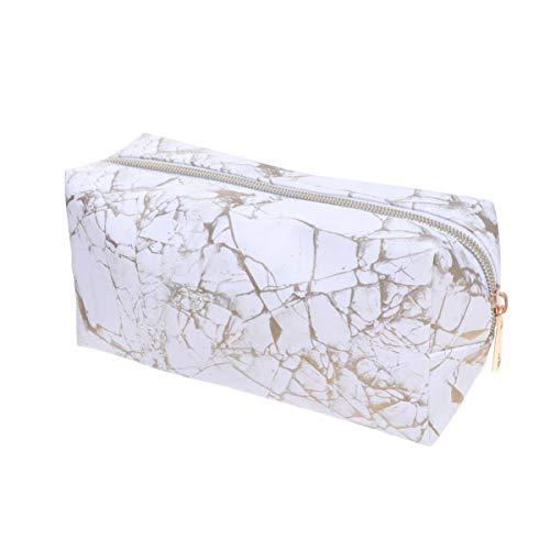 Lurrose marmor Make-up Tasche pu Leder quader Kosmetiktasche tragbaren reißverschluss Bleistift aufbewahrungskoffer für Frauen (Gold)