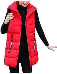 Reooly Chaqueta de Moda para Mujer Chaqueta sin Mangas con Capucha Algodón Color sólido Cremallera Bolsillo Cuello Alto