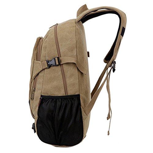 Canvas Tasche Männer Und Frauen Rucksack Tasche Freizeit Tasche 15 Zoll Computer Bag Sporttasche Einfache, Khaki Khaki