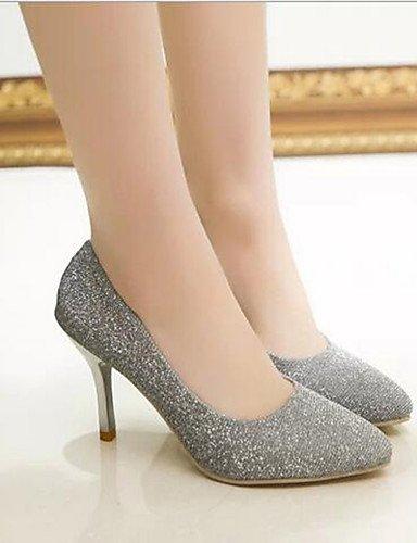 WSS 2016 Chaussures Femme-Bureau & Travail / Habillé / Soirée & Evénement-Noir / Rouge / Argent-Talon Aiguille-Escarpin Basique / Bout Pointu- black-us7.5 / eu38 / uk5.5 / cn38
