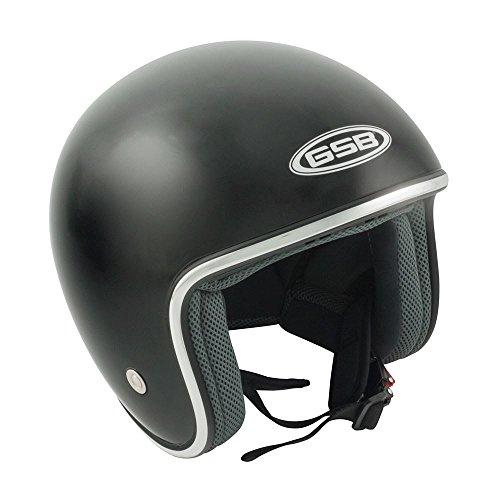 Casco a viso scoperto gsb, per moto, scooter, bici, in fibra di vetro, stile: classico e tradizionale, modello: touring g234.