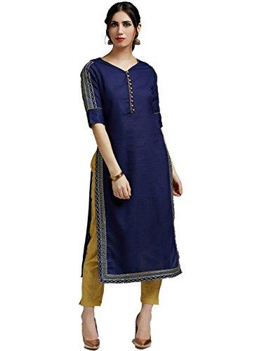Jaipur Kurti Women's Tussar Silk Kurta with Rayon Slub Gold Color Pants...