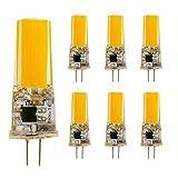 G4 LED Lampe 5W warmweiß 3000K COB Glühbirne statt G4 40W Halogenlampe, 220V AC/DC, 360 ° Abstrahlwinkel, G4 LED Birne, nicht dimmbar, 6 Stück pro Packung