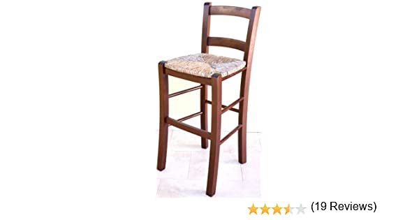 Sgabello in legno massello con seduta in paglia alto cm da