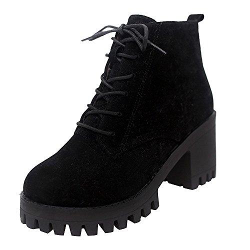 Winter Boots Damen,Elecenty Frauen Stiefeletten Schnallen Slip on Ankle Stiefel Halbschaft 7cm High Heels Schnürstiefel Schneestiefel Winterboots
