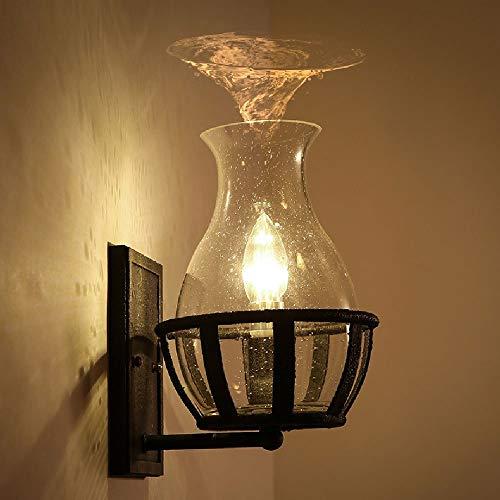 Spa-glas Kerze (SPA ㉿ Eisen Glas Wandleuchte Persönlichkeit Kerze Glas Schatten Wandleuchte Amerikanisches Dorf Retro Retro Einfache Wandleuchte 260mm * 200mm E14 110V ~ 240V)
