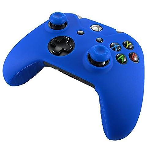 Doux Silicone de Peau Housse de Protection Gel le Manettes de XBOX ONE Empêchant les chocs et les rayures + bouchon poignée de manche x 2 (Bleu)