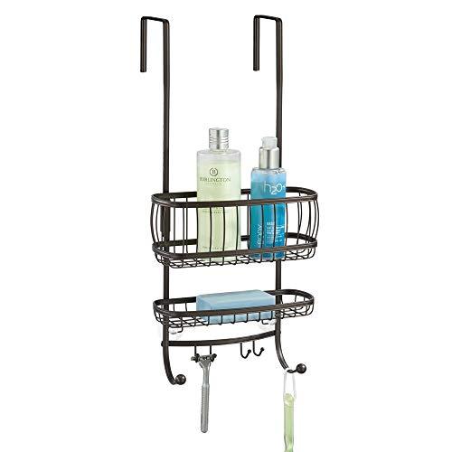 mDesign Duschablage zum Hängen über die Duschtür - praktisches Duschregal ohne Bohren - mit Saugnäpfen und 4 Haken - Duschkorb zum Hängen für Shampoo, Rasierer und Co. aus Metall - bronze