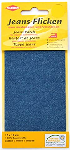 Kleiber 17 x 15 cm Patch réparation denim pour jeans, Bleu moyen