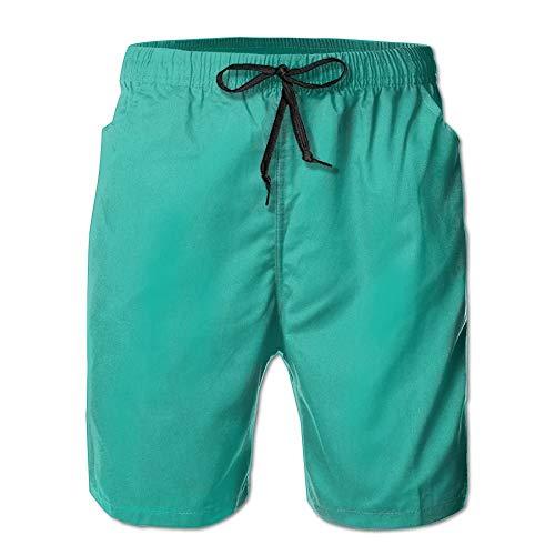 Grüne Bild Männer/Jungen Casual Shorts Badehose Badebekleidung elastische Taille Strandhose mit Taschen, L