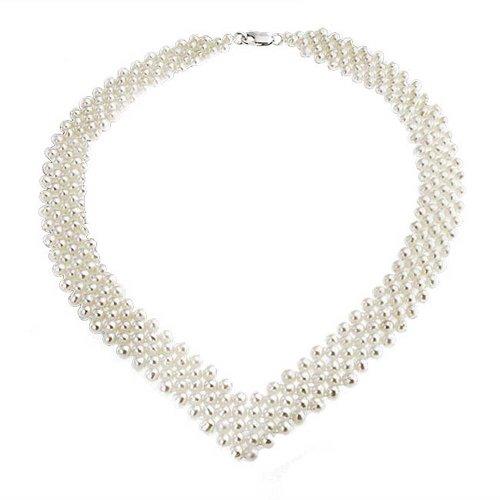 Bling Jewelry V-förmige simulierten Pearl Rhodiniert Braut Halskette 16 Zoll (Kleid Anspruchsvolle Der Braut Mutter)