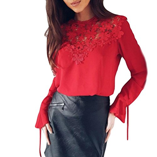 Bekleidung Longra❤️❤️ Damen Elegant Bluse Chiffon Bluse Rundhals Spitzenbluse Lace Bluse mit Trompetenärmel Damen Schöne Floraler Blusen Frauen Langarm T-Shirt Spitze OL Hemdbluse (Red, M)
