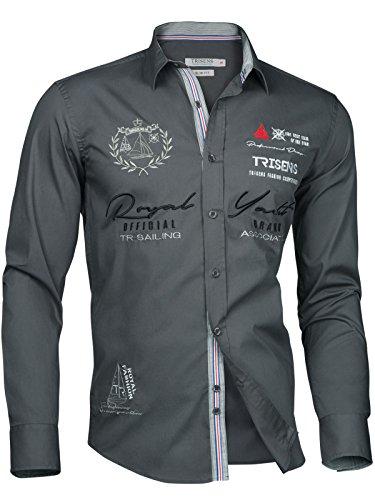 Trisens Herren Hemd Shirt BESTRICKT Stickerei Langarm Baumwolle Polo Party, Größe:XL, Farbe:Grau