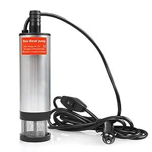QLOUNI 12V 35L/min Bomba Sumergible de Agua del Acero Inoxidable Bomba de Combustible Diesel Transferencia de Líquido…