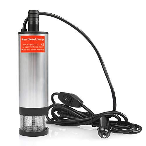 QLOUNI 12 V 35L / min in acciaio inox pompa sommergibile acqua pompa carburante diesel liquido diametro di trasferimento 51 mm 4 m cavo con accendisigari auto (Consiglia dei Trasformatori di 8A-10A)