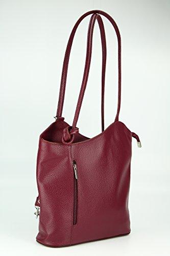 Belli Italiano Borsa in pelle belli Back Pack 2in1–Zaino da donna in pelle a mano e da spalla–libero colore a scelta–28x 28x 8cm (B x H x T) Bordeaux