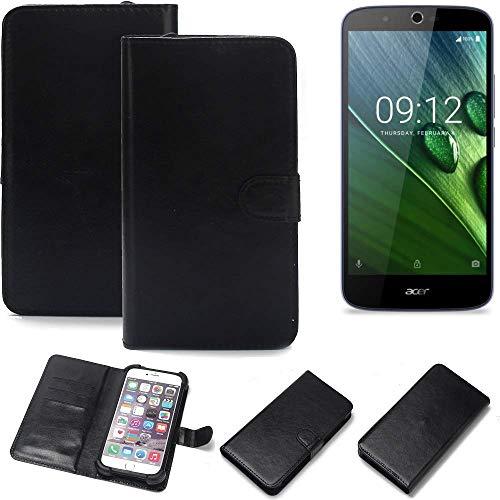 K-S-Trade 360° Wallet Case Handyhülle für ACER Liquid Zest Plus Schutz Hülle Smartphone Flip Cover Flipstyle Tasche Schutzhülle Flipcover Slim Bumper schwarz, 1x