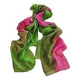 Damen Schal, Frauen Mode Farbverlauf Chiffon Schal Weiche Wrap Halstuch Tücher Schlauchschal Shawl(Grün)