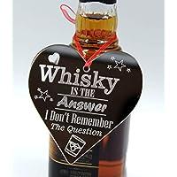 Whiskey Whisky Lover Bottle Wooden Heart Plaque Tag Label Bottle Decoration Fits Glenlivet Haig Club Highland Park Auchentoshan Ardmore Chivas Regal Bushmills Teachers Jameson Whiskey Bottle 1l 70cl 50cl Christmas Gift Box Hamper Set Ideas