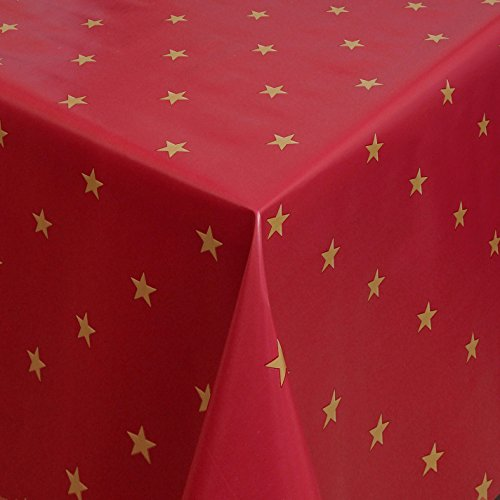 Wachstuch Gold Sterne Rot Weihnachten Breite 80 - 140 cm Länge wählbar abwaschbare Tischdecke 100...