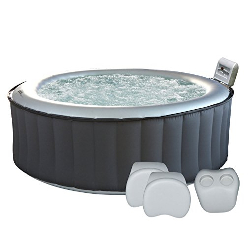 Happy Garden Pack Spa Gonflable Rond Silver Cloud - 6 Places + appuie-tête + 1 Porte-gobelets