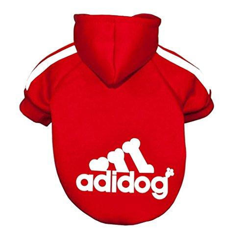 Adidog, Hundekleidung,für kleine und große Hund (S bis 8XL)Farbe : Schwarz / Rot (M, Rot)