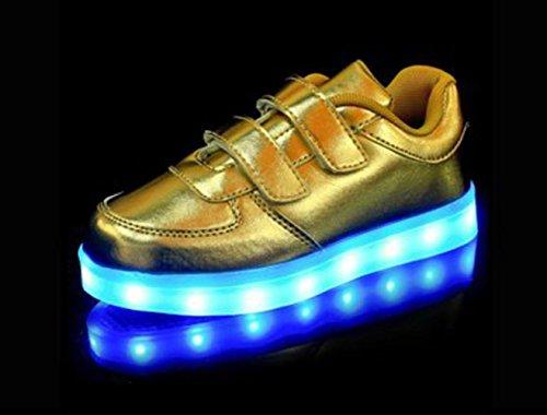 (Present:kleines Handtuch)JUNGLEST® Kinder Jungen Mädchen LED Schuhe Leuchtend Sneaker Farbwechsel Fluorescence Turnschuhe Sportsschu Gold
