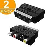 2 x DNA Scart-Adapter – Scart auf Cinch/Phono/Component/Composite AV Kabel Adapter – umschaltbarer RCA-/Composite/AV auf Scart-Stecker (2 Stück)