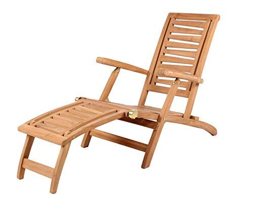 Mr. Deko Teak Deckchair Zickzack Teak - Bear Chair - Liegestuhl - Relaxliege - Gartenliege - Outdoormöbel - Teakholz - für Balkon, Terrasse, Wintergarten, Garten