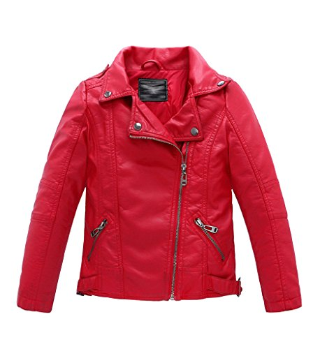 YoungSoul Jungen Mädchen Kunst Lederjacke Kragen Motorrad Leder Mantel Kinder Biker Style Herbst Winter Jacke mit Fellkragen