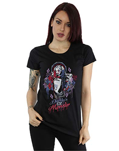 Suicide Squad mujer Harley Quinn Daddy's Lil Monster Camiseta Medium Negro