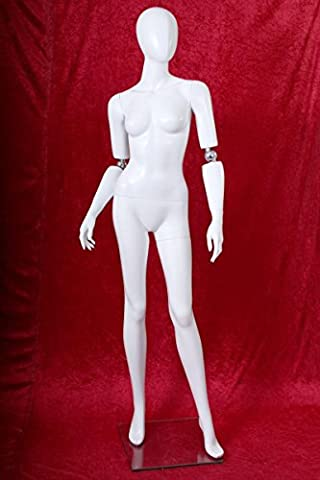Window mannequin Female Shining White Movable arms