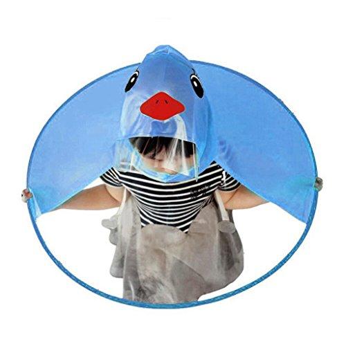 Rosennie_Bluse Rosennie Baby-Mädchen Regenmantel Mini Printed Raincoats Children Umbrella Has Magical Hands Free Raincoat Kinder Ente Headwear Portable Hände Frei PEVA Wasserdichte Mantel Regenschirm (S, Blau)