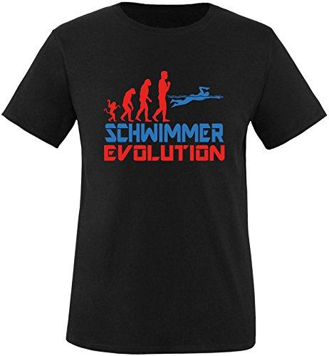 EZYshirt® Schwimmer Evolution Herren Rundhals T-Shirt Schwarz/Rot/Blau