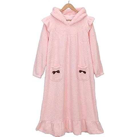 LIUDOUConjunto de paño grueso y suave camisón niñas sudadera con capucha lindo Super suave franela pijama coral , xl