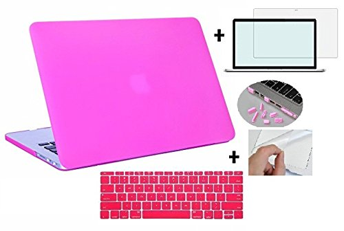 """Go Crazzy for MacBook Pro 13"""" 13.3 inch A1278 / MD101 [with DVD Writer] case cover with Silicone Keyboard Cover, LCD HD Clear Screen Protector and 12pcs Dust plug +Touchpad Protector for MacBook Pro 13"""" 13.3 inch A1278 / MD101 [with DVD Writer MD102/MD313/MD314/MC374/MC700 (Hot pink)"""