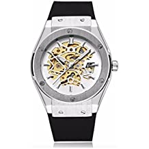 espritshopping® Reloj Automático para Hombre Blanca Watch Replica Luxe Mecanique esqueleto acero deporte Skeleton