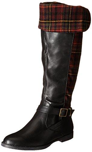Bella Vita RomyII Rund Kunstleder Mode-Knie hoch Stiefel Black/Burgundy Plaid