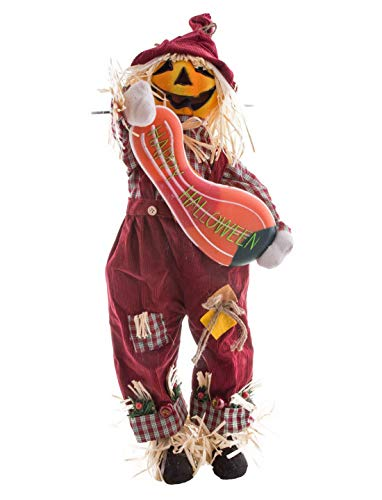 ween Dekoration, Deko lachende Kürbis Vogelscheuche mit Licht und Geräusch Funktionen, 90cm, Scarecrow Pumpkin with Lightand Sound, ideal für Jede Halloween Party / Feier, Rot ()