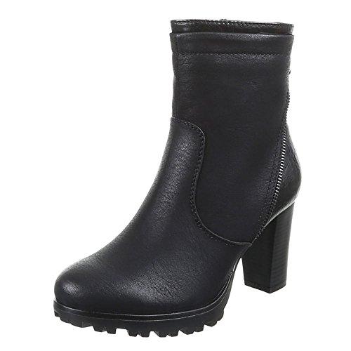Damen Schuhe, 224-GA, STIEFELETTEN Schwarz