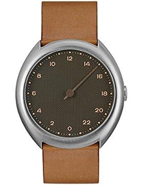 slow O 09 – Braun Vintage Leder Silber Fall anthrazit Zifferblatt Unisex Quarzuhr mit grauem Zifferblatt Analog-Anzeige...