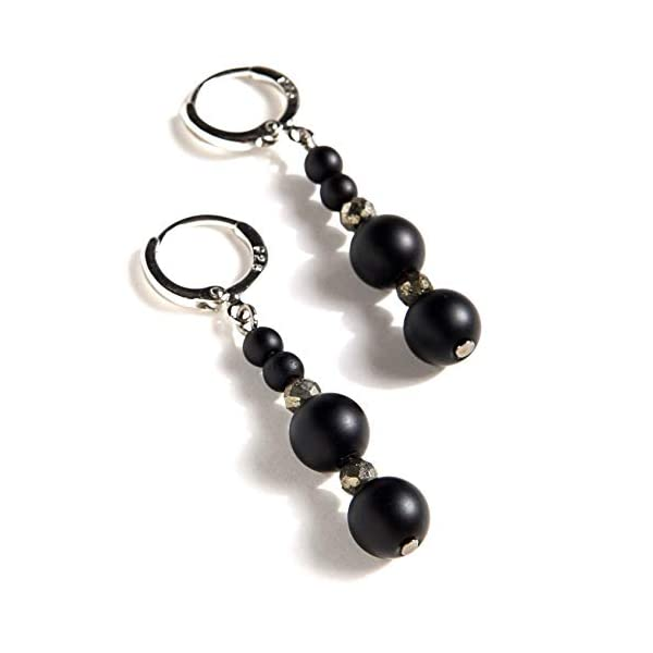 Black Onyx and Pyrite Sterling Silver 925 and Platinum Plated Earrings 41TJT2aiEWL