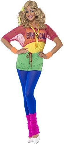 Damen 80er Aerobic Kostüm Neonfarben 'Let's Get Physical' Turnanzug Verkleidung EU 34-46 - Mehrfarbig, EU 44-46 (Let's Get Physical Kostüm)