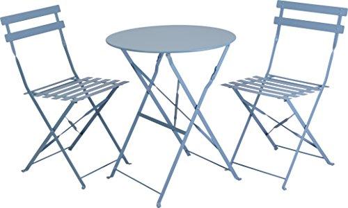 Bistroset 3 tlg. Balkonset Tisch 2 Stühle Gartentisch Stuhl Blau Metall klappbar